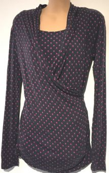 JOJO MAMAN BEBE NAVY PINK FLORAL LONG SLEEVED WRAP TOP SIZE S UK 10